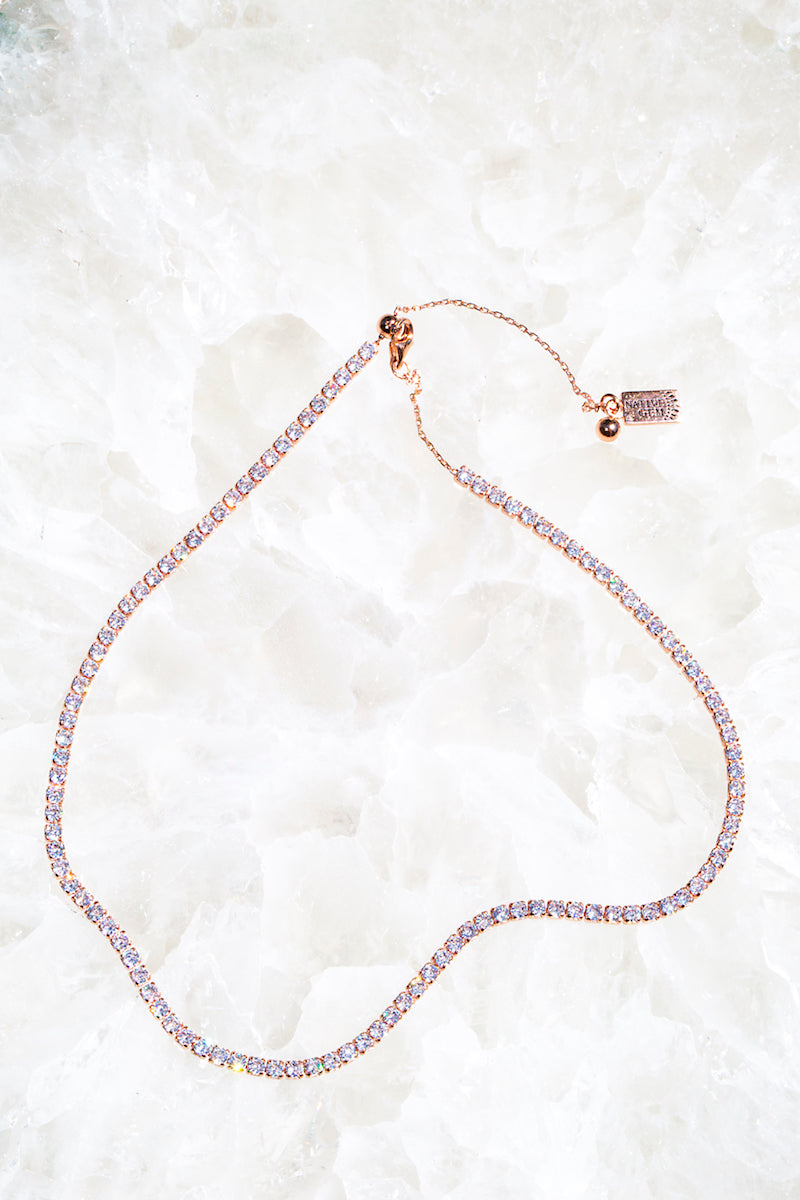 rose gold diamond tennis necklace