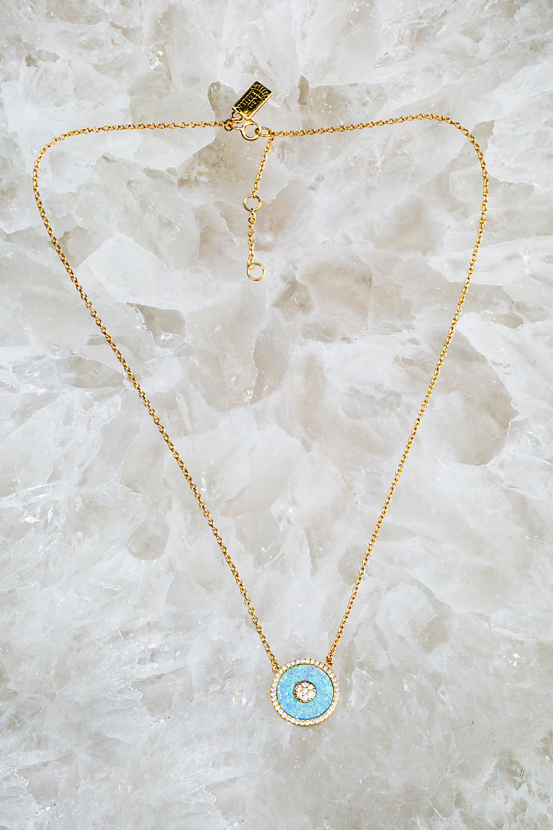 circle evil eye opal necklace