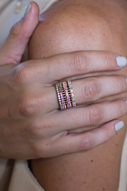 Rainbow eternity bands stacked