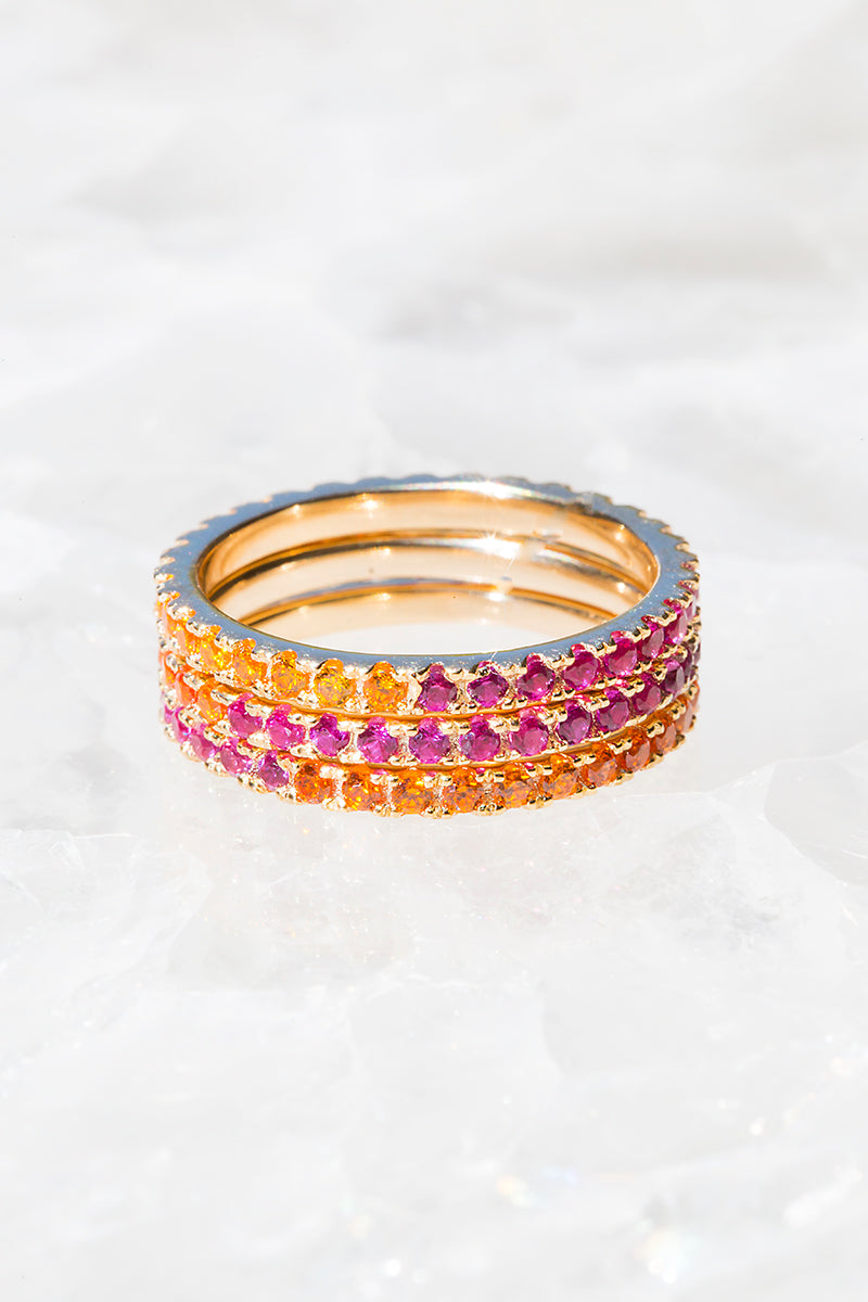stacked colorful eternity bands