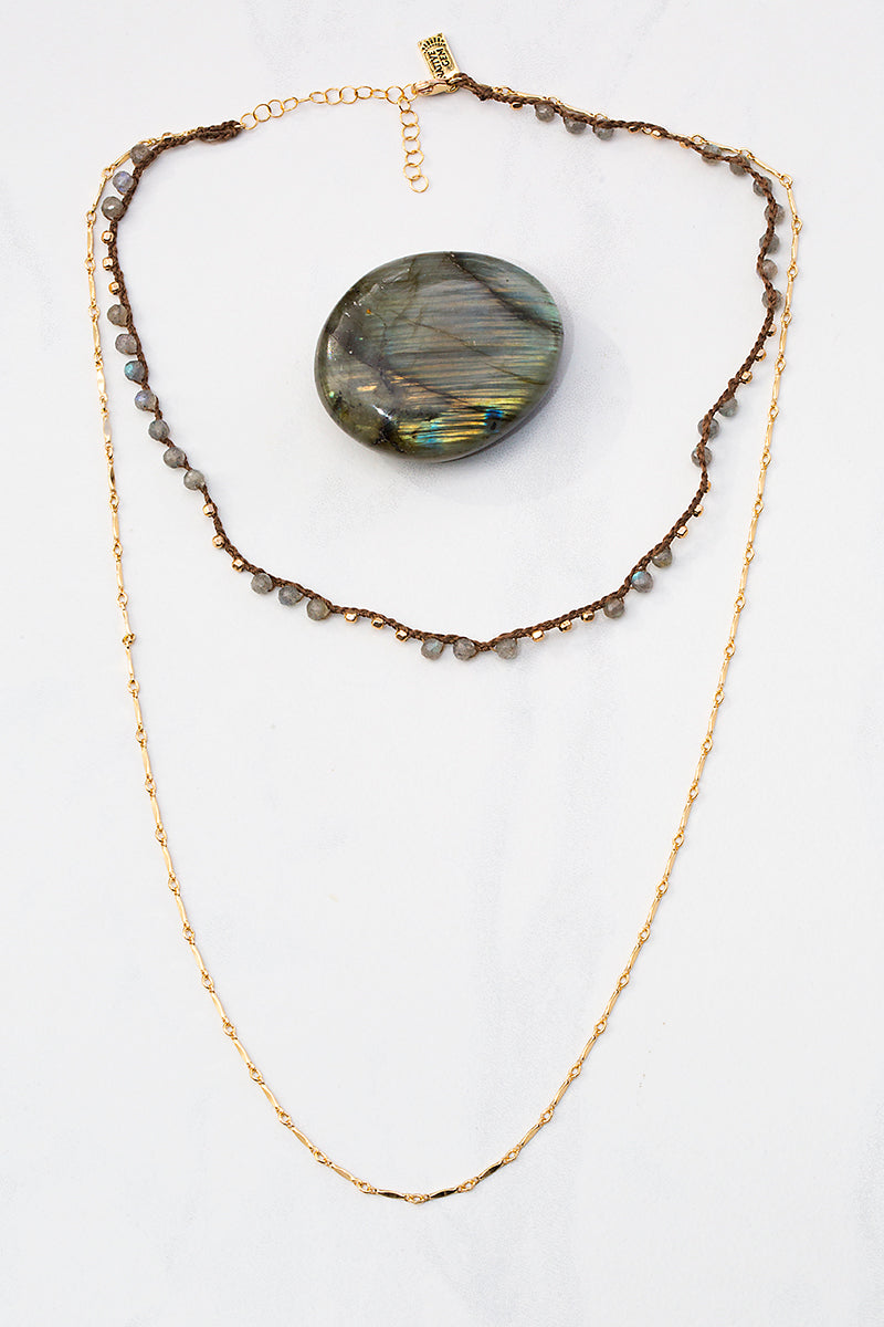 labradorite layered gold necklace