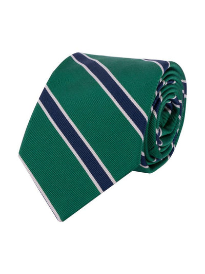 Silk cotton blended tie with classic navy stripes.