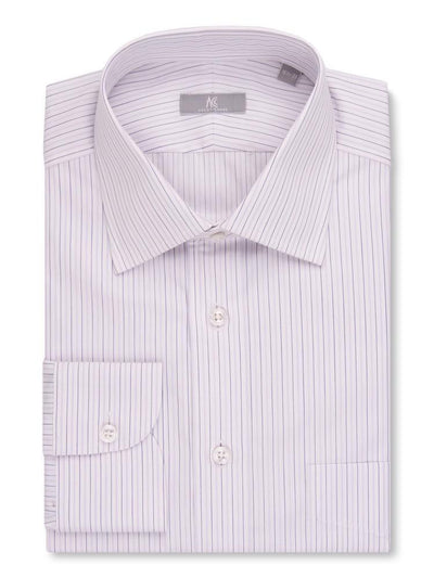 Tailored with 100s 2-ply cotton in a purple stripe. This shirt is cut in a slim fit and features our #22 spread collar, button rounded cuffs and a placket front.