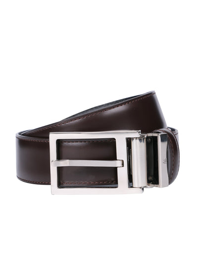 Brown leather belt is finished with Polished Palladium buckle.