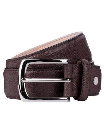 Brown pebbled leather belt is finished with Polished Palladium buckle.