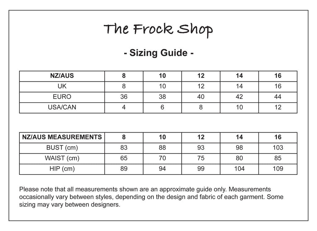 The Frock Shop Sizing Guide
