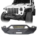 Ultralisk 4x4 Blade Stubby Front Bumper w/ 60W Work Light Bar & Different Trail Rear Bumper w/Tire Carrier Combo(07-18 Jeep Wrangler JK)