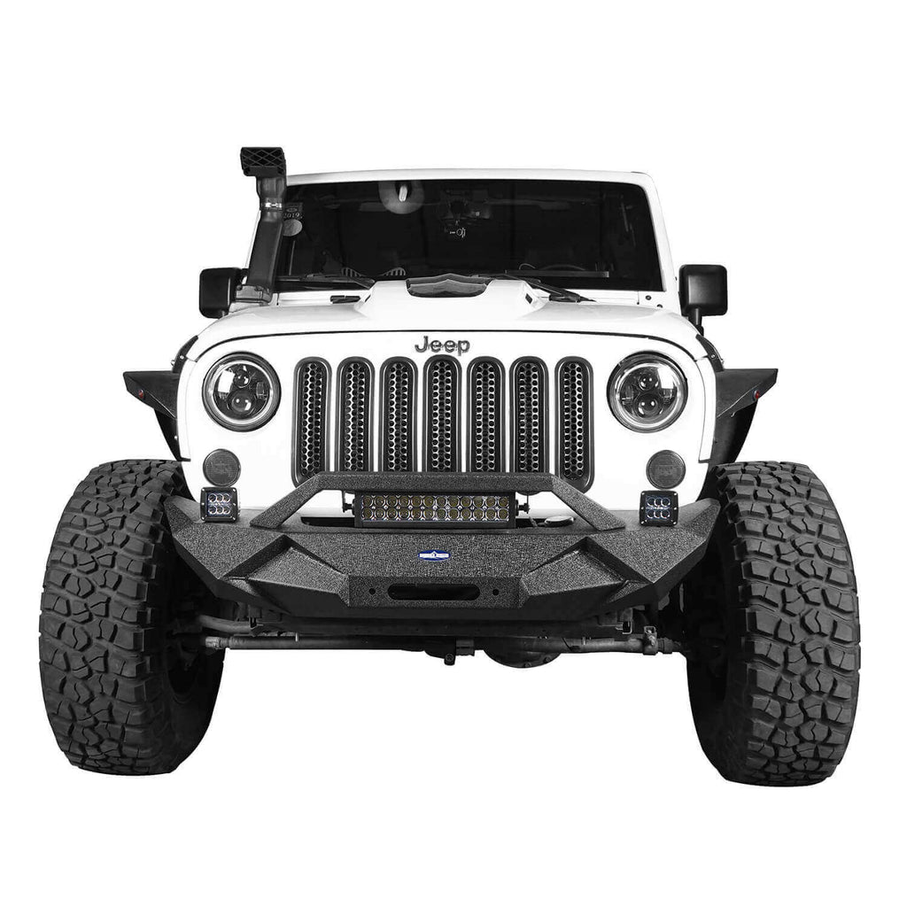 Ultralisk 4x4 Blade Stubby Front Bumper w/Work Light Bar & Different Trail Rear Bumper Combo(07-18 Jeep Wrangler JK)
