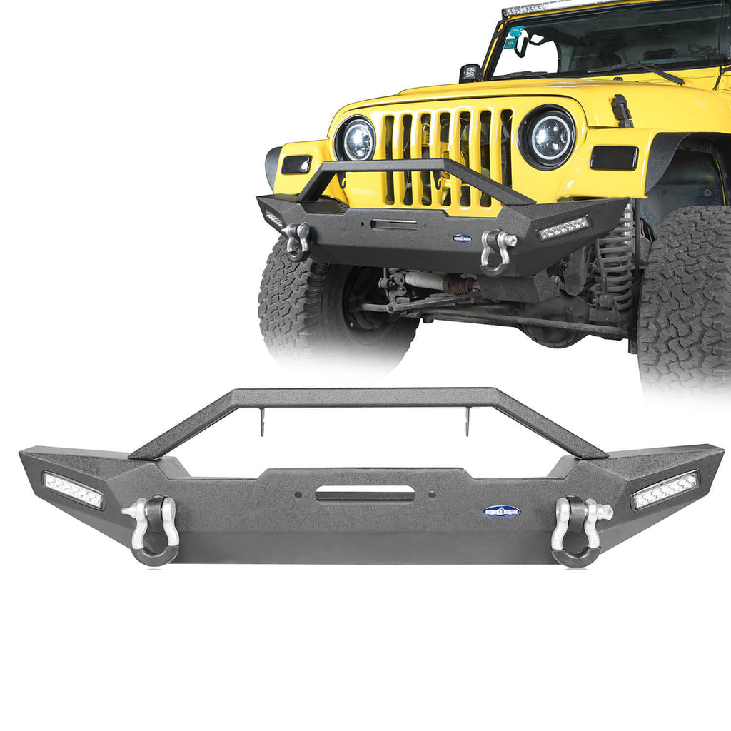 Ulralisk 4x4 BLADE Stubby Front Bumper w/Winch Plate & LED Accent Lights(87-06 Jeep Wrangler TJ YJ)