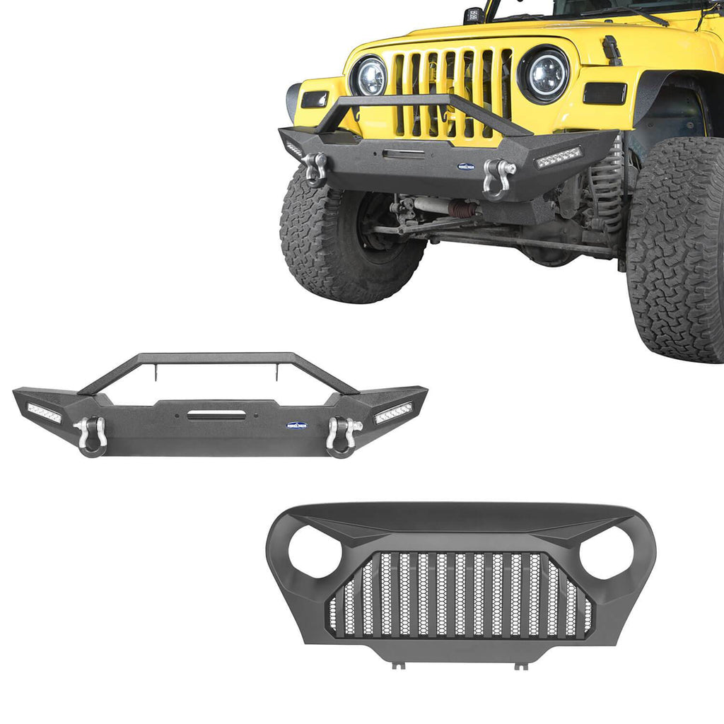 Blade Master Front Bumper and Gladiator Grille Cover Combo for Jeep Wrangler TJ 1997-2006 MMR0276BXG145 u-Box Offroad 1