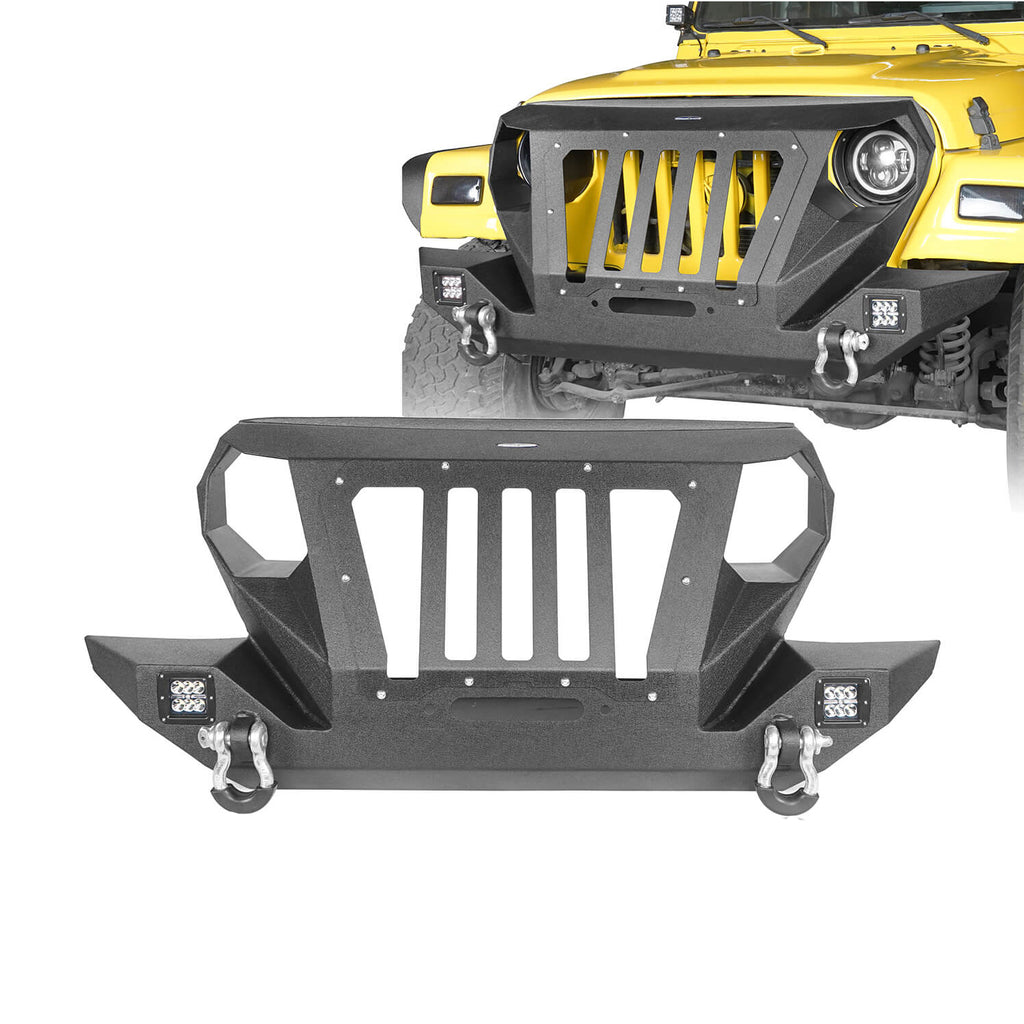 Front Bumper with 2 D-Rings & Winch Plate for 1997-2006 TJ BXG172 Offroad 1