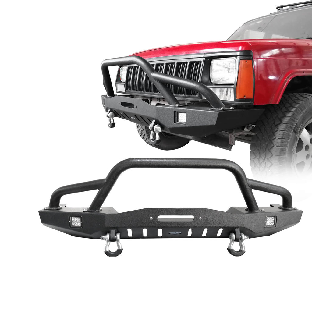 Full Width Front Bumper w/2 ×18W LED Spotlights for 1984-2001 Jeep Cherokee XJ bxg320 1
