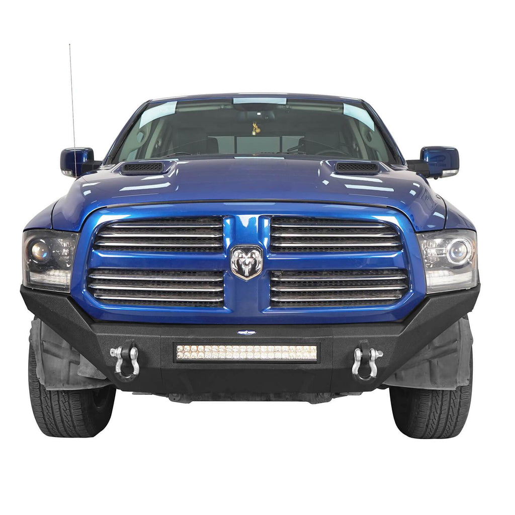 Full Width Front Bumper & Rear Bumper & 24.4  Inch High Bed Rack(09-18 Dodge Ram 1500 )