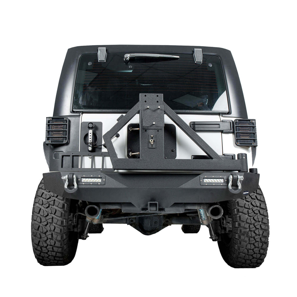 Ultralisk 4x4 Blade Stubby Front Bumper & Different Trail Rear Bumper w/Tire Carrier Combo(07-18 Jeep Wrangler JK)