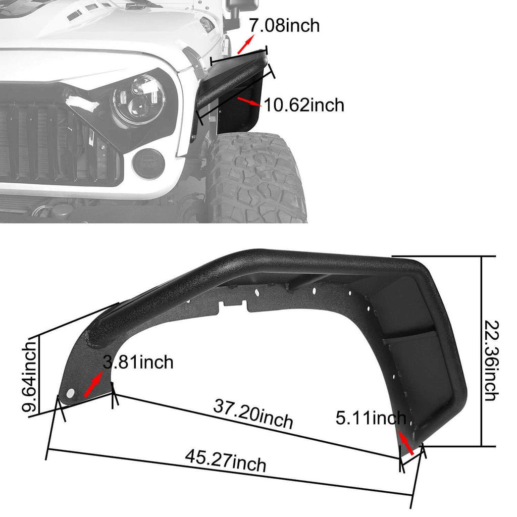 Flux Tubular Fender Flares For Jeep Wrangler JK 2007-2018 Jeep JK Parts BXG089 9