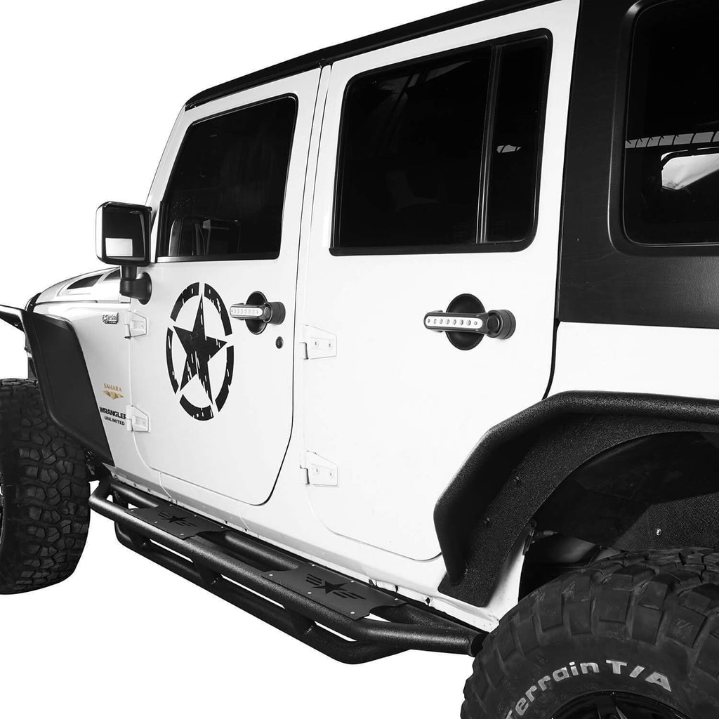 Jeep JK 4 Door Five Star Jeep Side Steps Jeep Running Boards Nerf Bar Rocker Guards for 2007-2018 Jeep Wrangler JK Jeep Body Armor bxg106 4