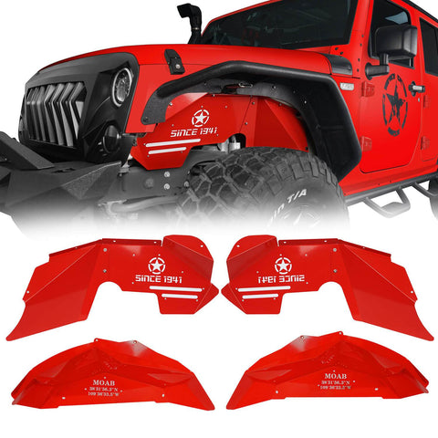 Ultralisk 4x4 Vivid Red Front & Rear Inner Fender Liners Kit(07-18 Jeep Wrangler JK)