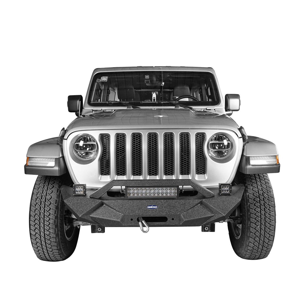 Hooke Road Jeep JL Front Bumper Stubby Blade Master Front Bumper with Winch Plate and License Plate Holder for Jeep Wrangler JL 2018-2019 BXG506B u-Box offroad 3