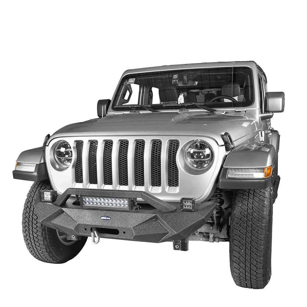 Hooke Road Jeep JL Front Bumper Stubby Blade Master Front Bumper with Winch Plate and License Plate Holder for Jeep Wrangler JL 2018-2019 BXG506B u-Box offroad 4