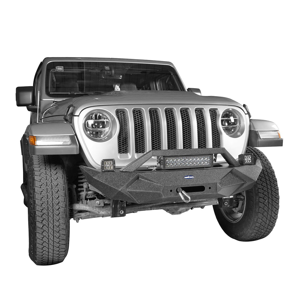 Hooke Road Jeep JL Front Bumper Stubby Blade Master Front Bumper with Winch Plate and License Plate Holder for Jeep Wrangler JL 2018-2019 BXG506B u-Box offroad 5