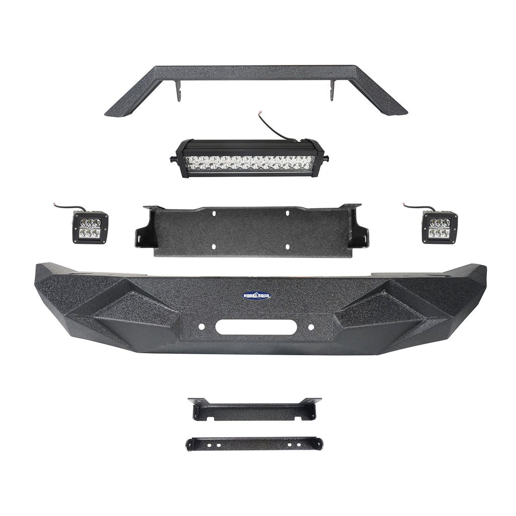 Hooke Road Jeep JL Front Bumper Stubby Blade Master Front Bumper with Winch Plate and License Plate Holder for Jeep Wrangler JL 2018-2019 BXG506B u-Box offroad 7