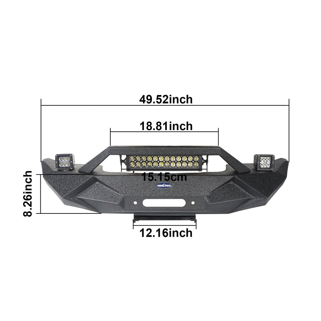 Hooke Road Jeep JL Front Bumper Stubby Blade Master Front Bumper with Winch Plate and License Plate Holder for Jeep Wrangler JL 2018-2019 BXG506B u-Box offroad 8