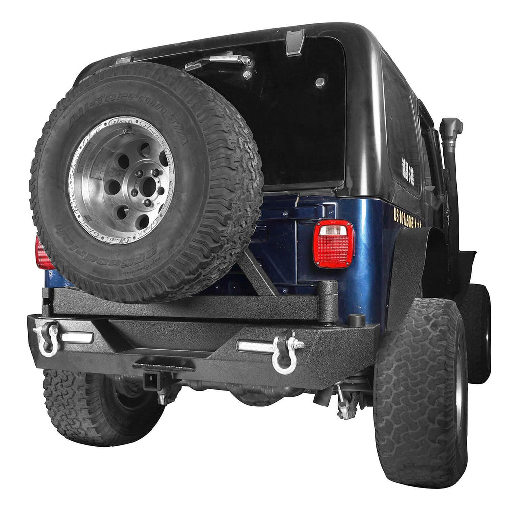 Jeep TJ Front and Rear Bumper Combo with Tire Carrier Blade Master Front Bumper and Explorer Rear Bumper for Jeep Wrangler YJ TJ 1987-2006 BXG130145 Jeep TJ Front and Rear Bumper Combo u-Box Offroad 10