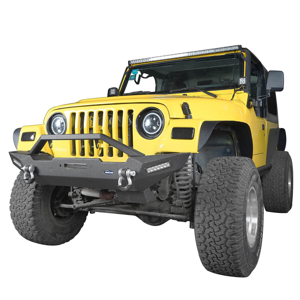 Jeep TJ Front and Rear Bumper Combo with Tire Carrier Blade Master Front Bumper and Explorer Rear Bumper for Jeep Wrangler YJ TJ 1987-2006 BXG130145 Jeep TJ Front and Rear Bumper Combo u-Box Offroad 5