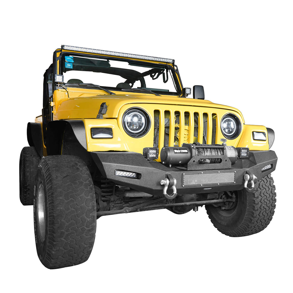 Jeep TJ Front Bumper with Winch Plate and LED Spotlights Climber Front Bumper for Jeep Wrangler TJ 1997-2006 BXG215 Jeep Bumpers Offroad 4