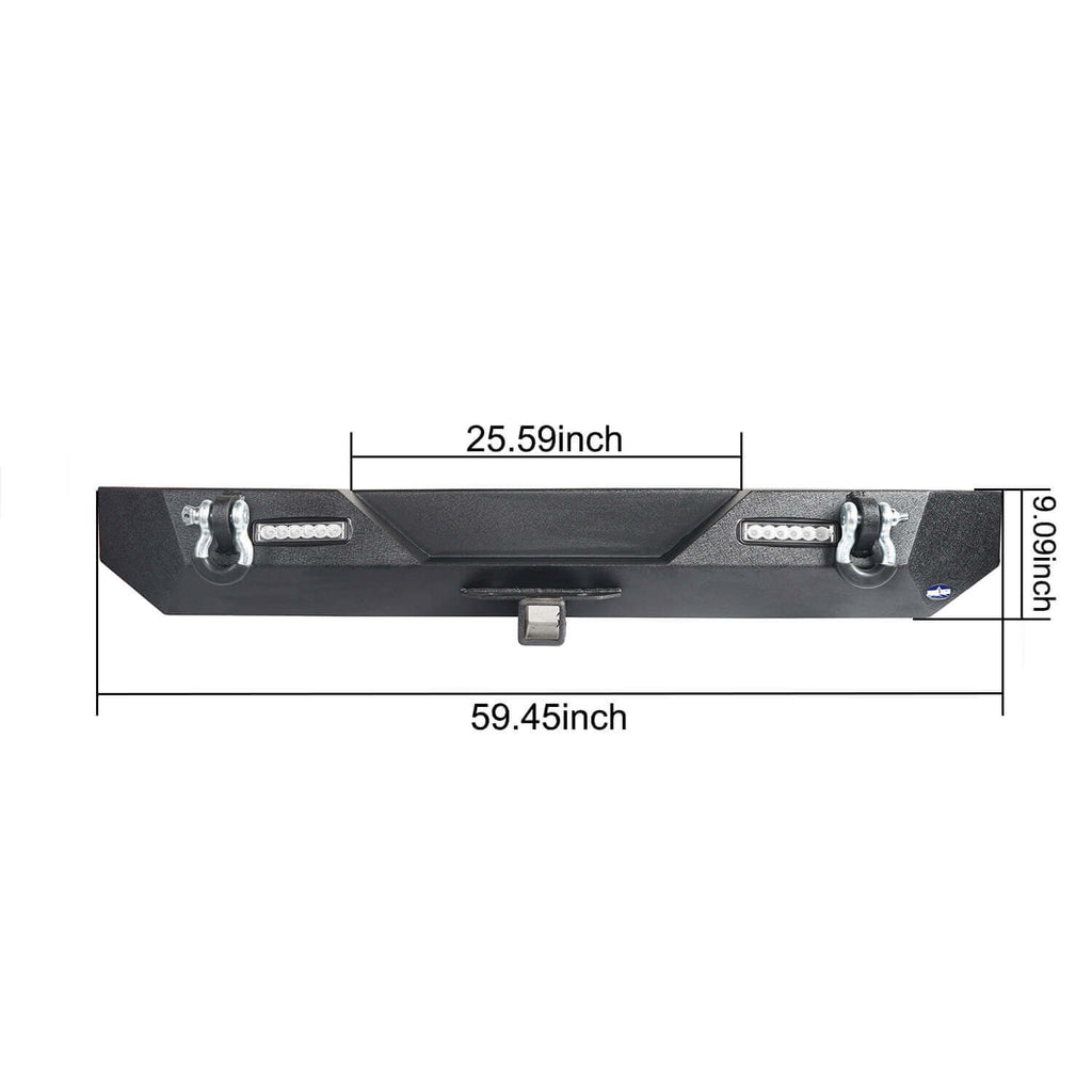 "Different Trail Rear Bumper w/2"" Hitch Receiver for Jeep Wrangler TJ YJ 1987-2006 BXG120 12"