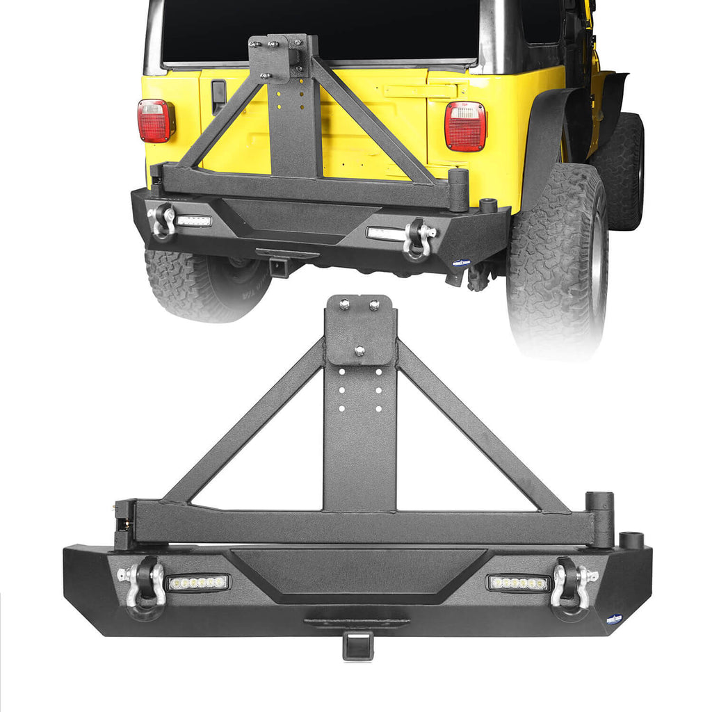 "Explorer TJ Rear Bumper w/Tire Carrier & 2"" Receiver Hitch for 1997-2006 Jeep Wrangler TJ  bxg130 1"