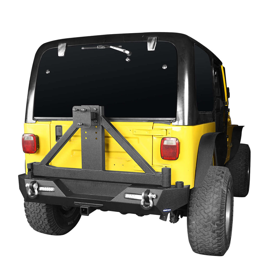 "Explorer TJ Rear Bumper w/Tire Carrier & 2"" Receiver Hitch for 1997-2006 Jeep Wrangler TJ  bxg130 2"