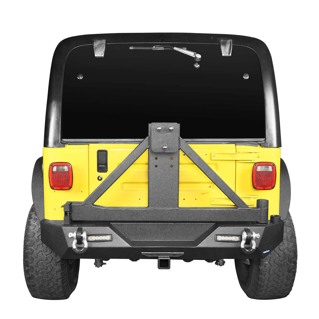 "Explorer TJ Rear Bumper w/Tire Carrier & 2"" Receiver Hitch for 1997-2006 Jeep Wrangler TJ  bxg130 3"