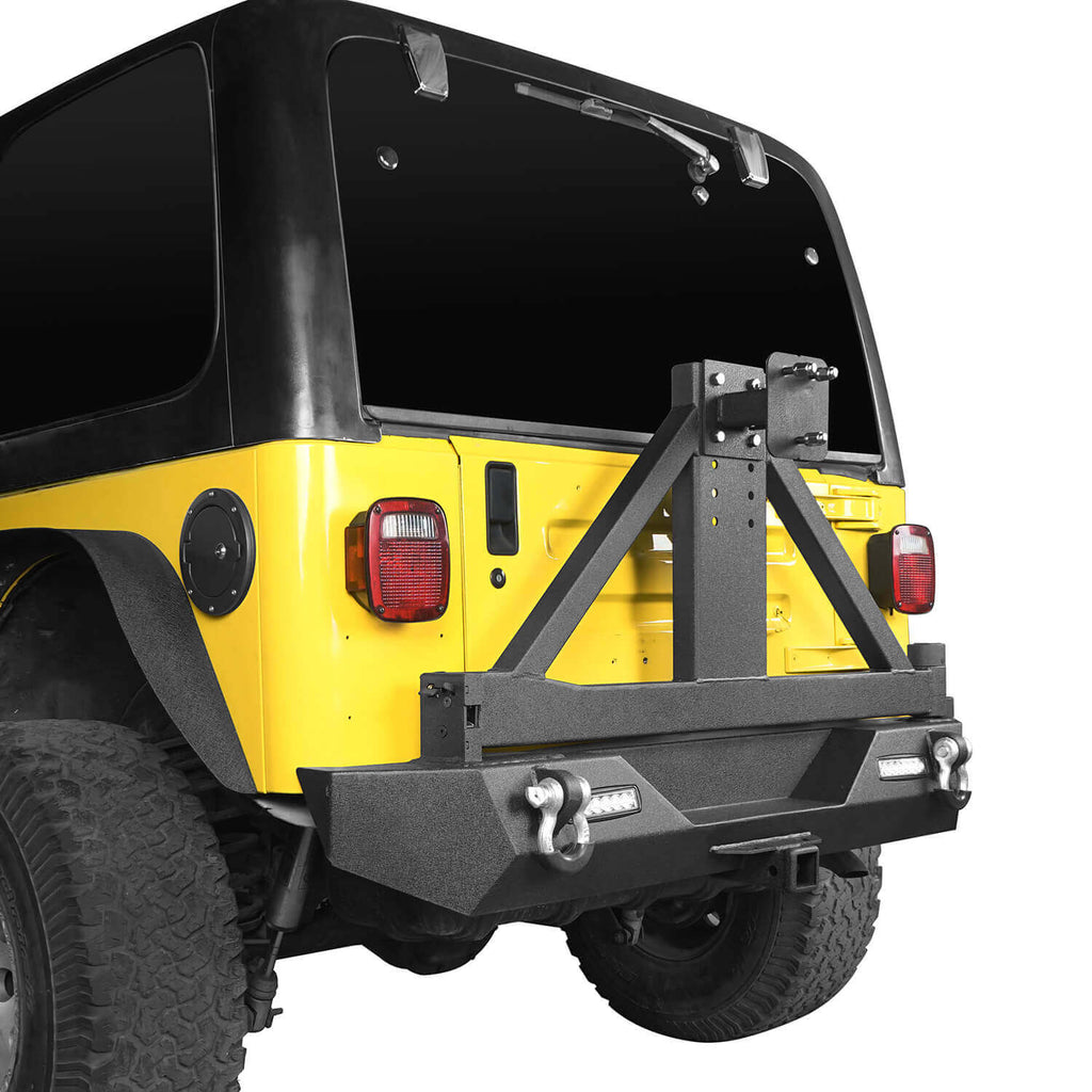 "Explorer TJ Rear Bumper w/Tire Carrier & 2"" Receiver Hitch for 1997-2006 Jeep Wrangler TJ  bxg130 4"