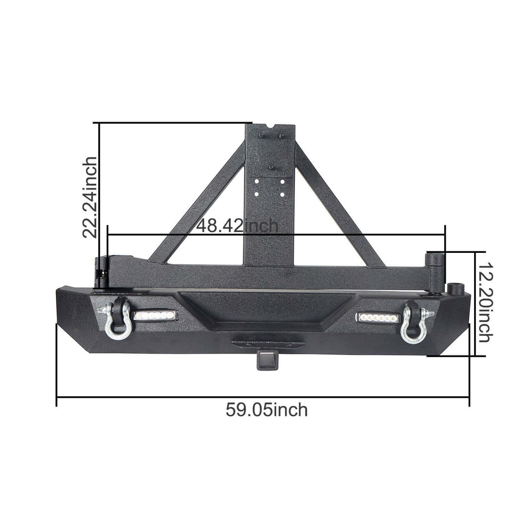 "Explorer TJ Rear Bumper w/Tire Carrier & 2"" Receiver Hitch for 1997-2006 Jeep Wrangler TJ  bxg130 8"