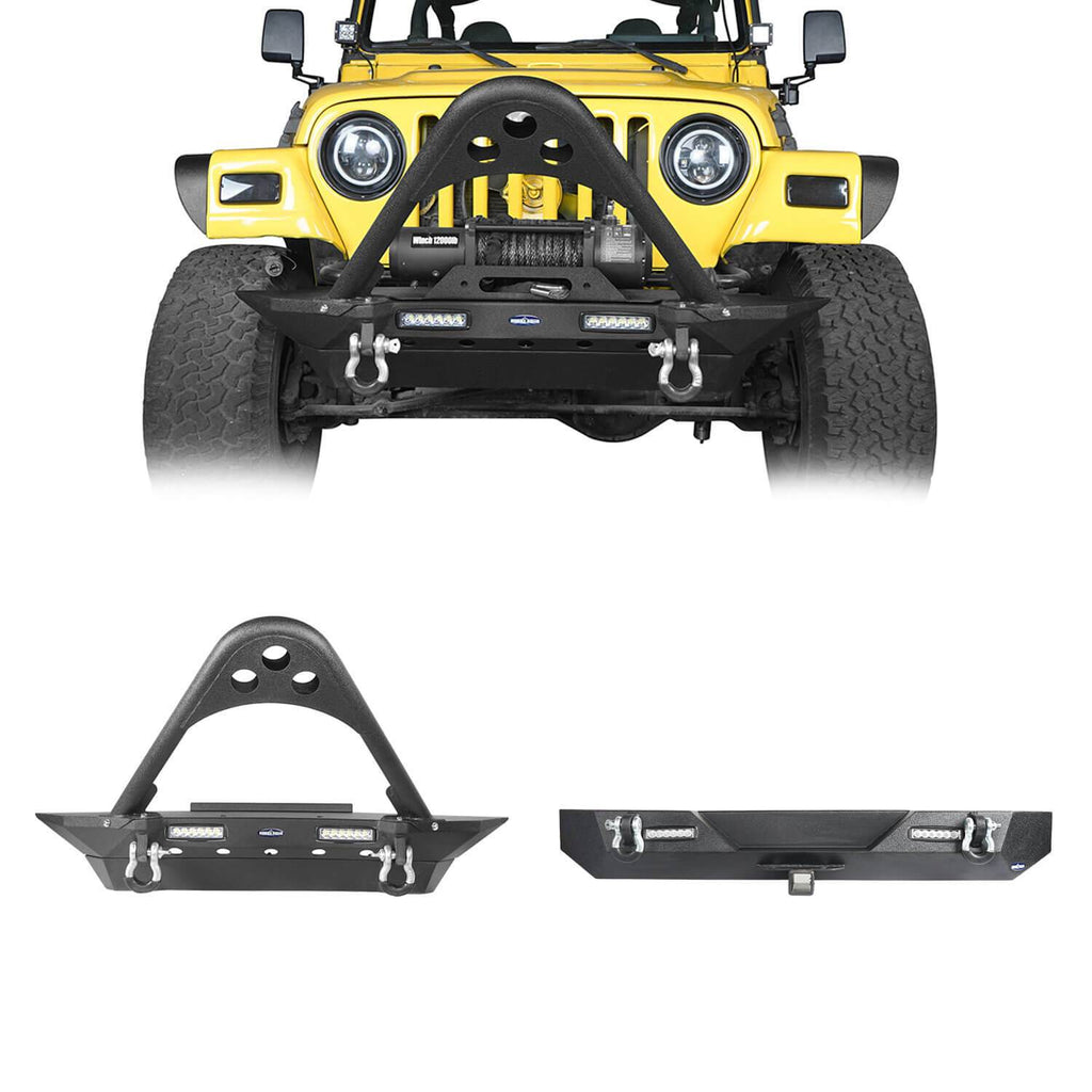 Jeep TJ Stinger Front Bumper and Different Trail Rear Bumper Combo for Jeep Wrangler TJ YJ 1987-2006 BXG152120 Jeep TJ Front and Rear Bumper Combo u-Box Offroad 1
