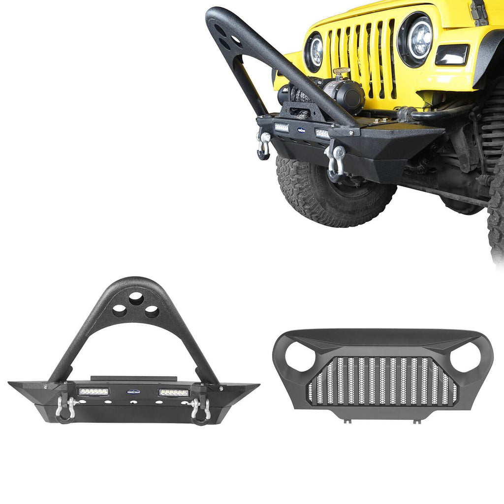 Jeep TJ Stinger Front Bumper and Gladiator Grille Cover Combo for Jeep Wrangler TJ 1997-2006 MMR0276BXG152 Stubby Front Bumper u-Box Offroad 1