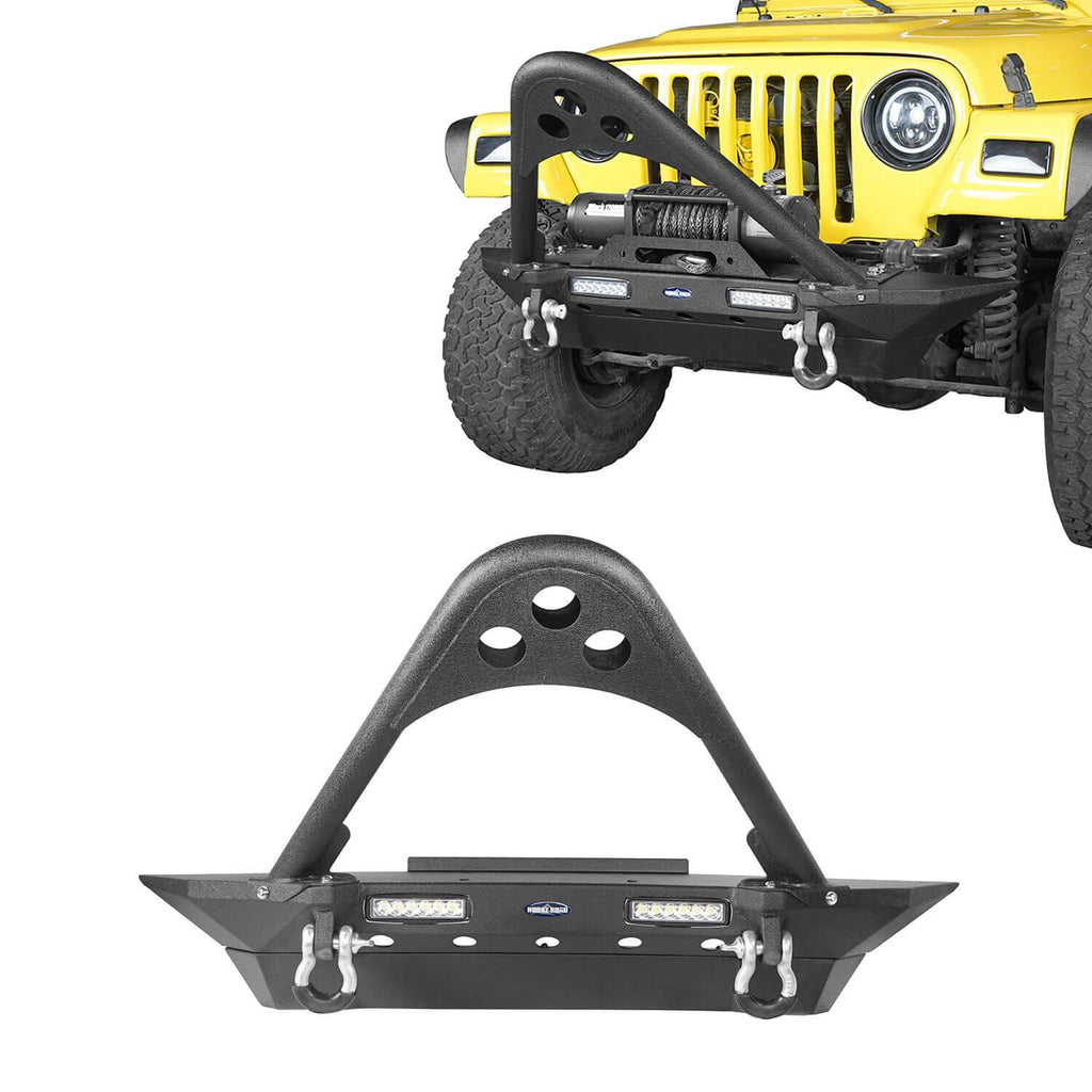 Jeep TJ Stinger Front Bumper and Gladiator Grille Cover Combo for Jeep Wrangler TJ 1997-2006 MMR0276BXG152 Stubby Front Bumper u-Box Offroad 3