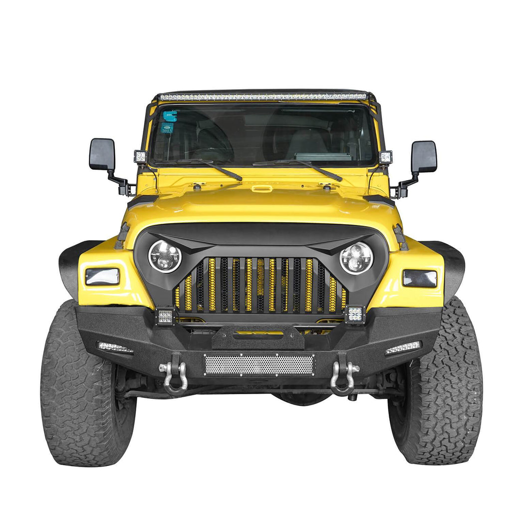 Jeep TJ Stinger Front Bumper and Gladiator Grille Cover Combo for Jeep Wrangler TJ 1997-2006 MMR0276BXG152 Stubby Front Bumper u-Box Offroad 8