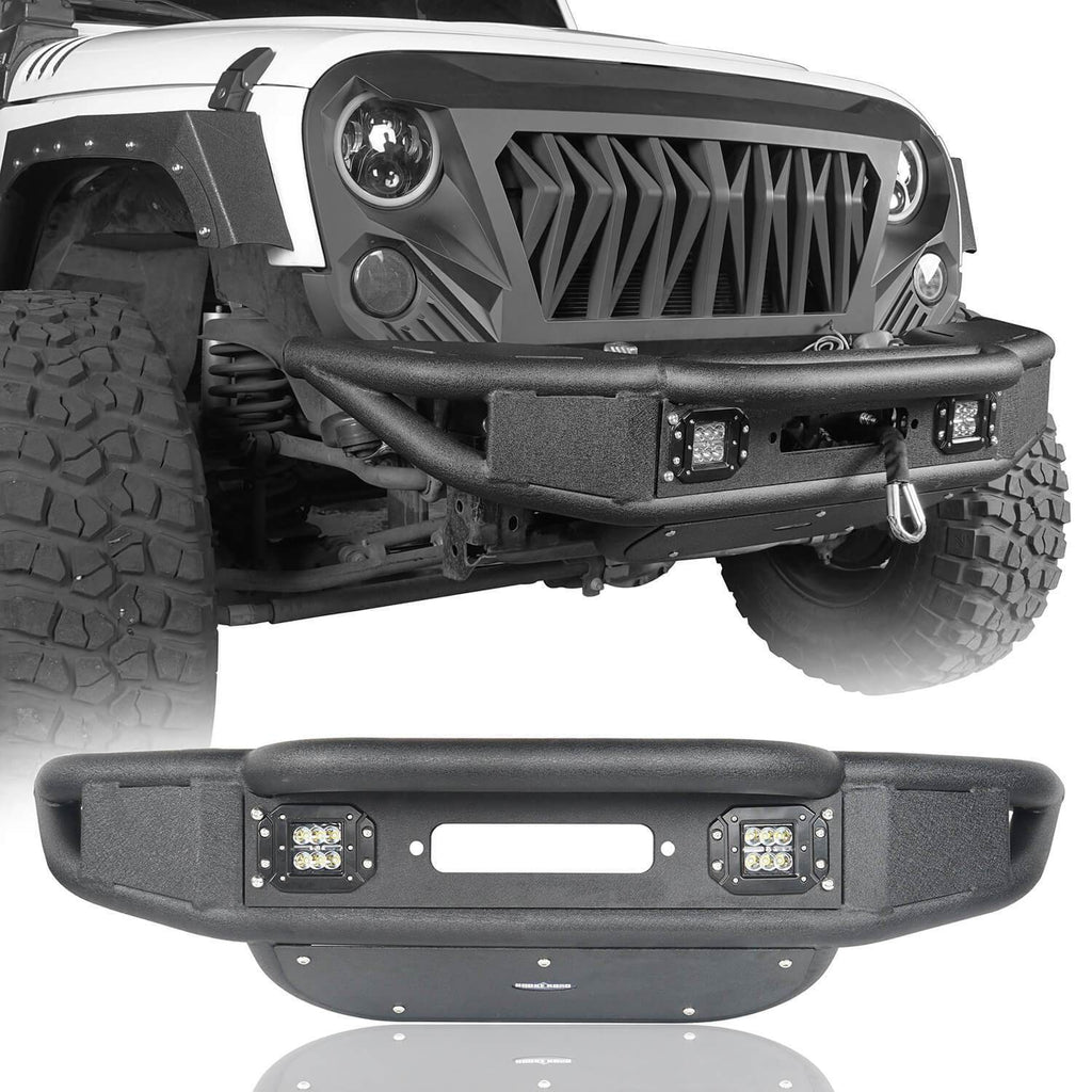 Opar Lotus Tubular Front Bumper & Different Trail Rear Bumper w/Tire Carrier Combo Kit for 2007-2018 Jeep Wrangler JK JKU BXG132114 u-Box offroad 3