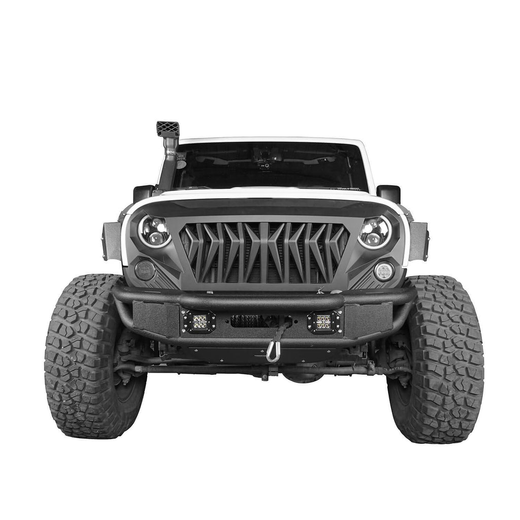 Opar Lotus Tubular Front Bumper & Different Trail Rear Bumper w/Tire Carrier Combo Kit for 2007-2018 Jeep Wrangler JK JKU BXG132114 u-Box offroad 4