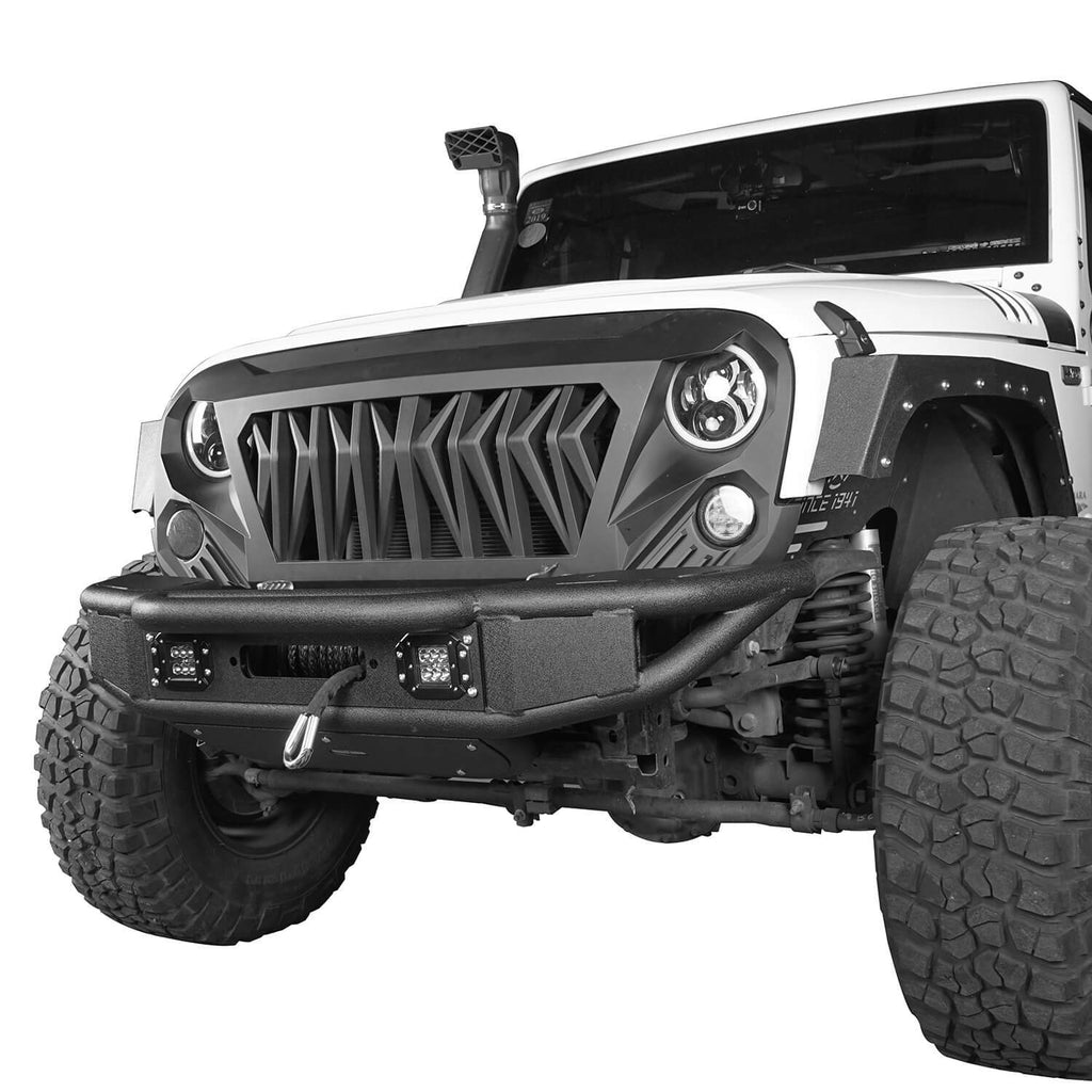 Opar Lotus Tubular Front Bumper & Different Trail Rear Bumper w/Tire Carrier Combo Kit for 2007-2018 Jeep Wrangler JK JKU BXG132114 u-Box offroad 5