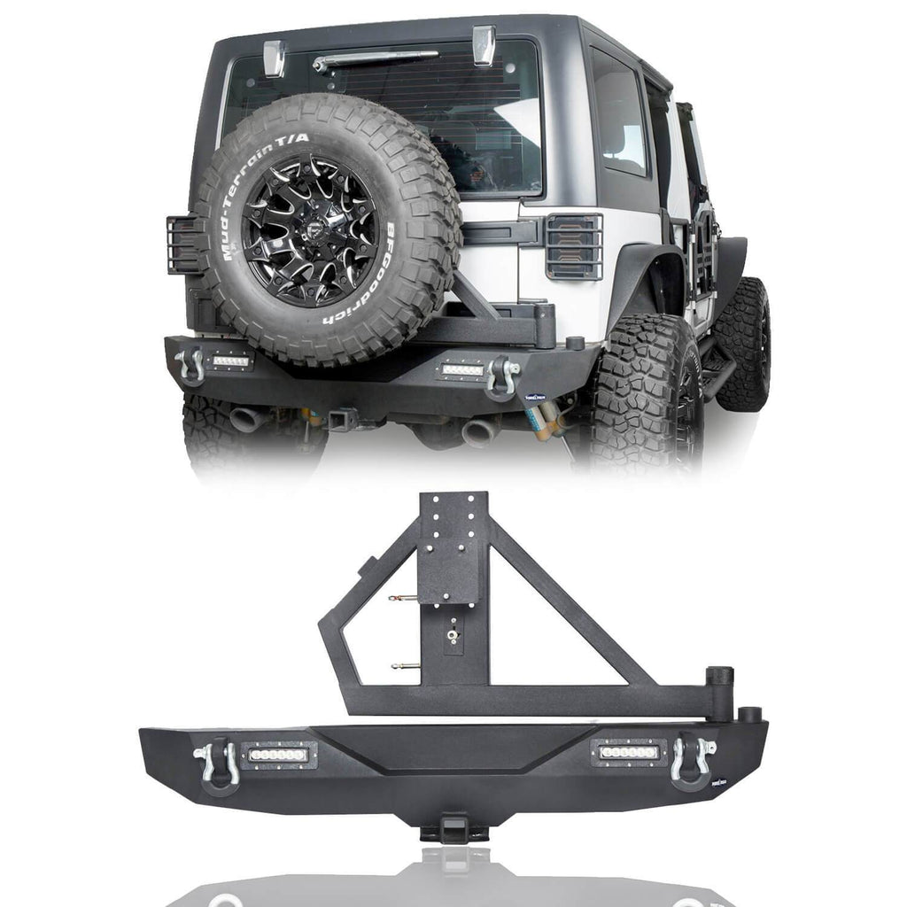 Opar Lotus Tubular Front Bumper & Different Trail Rear Bumper w/Tire Carrier Combo Kit for 2007-2018 Jeep Wrangler JK JKU BXG132114 u-Box offroad 8