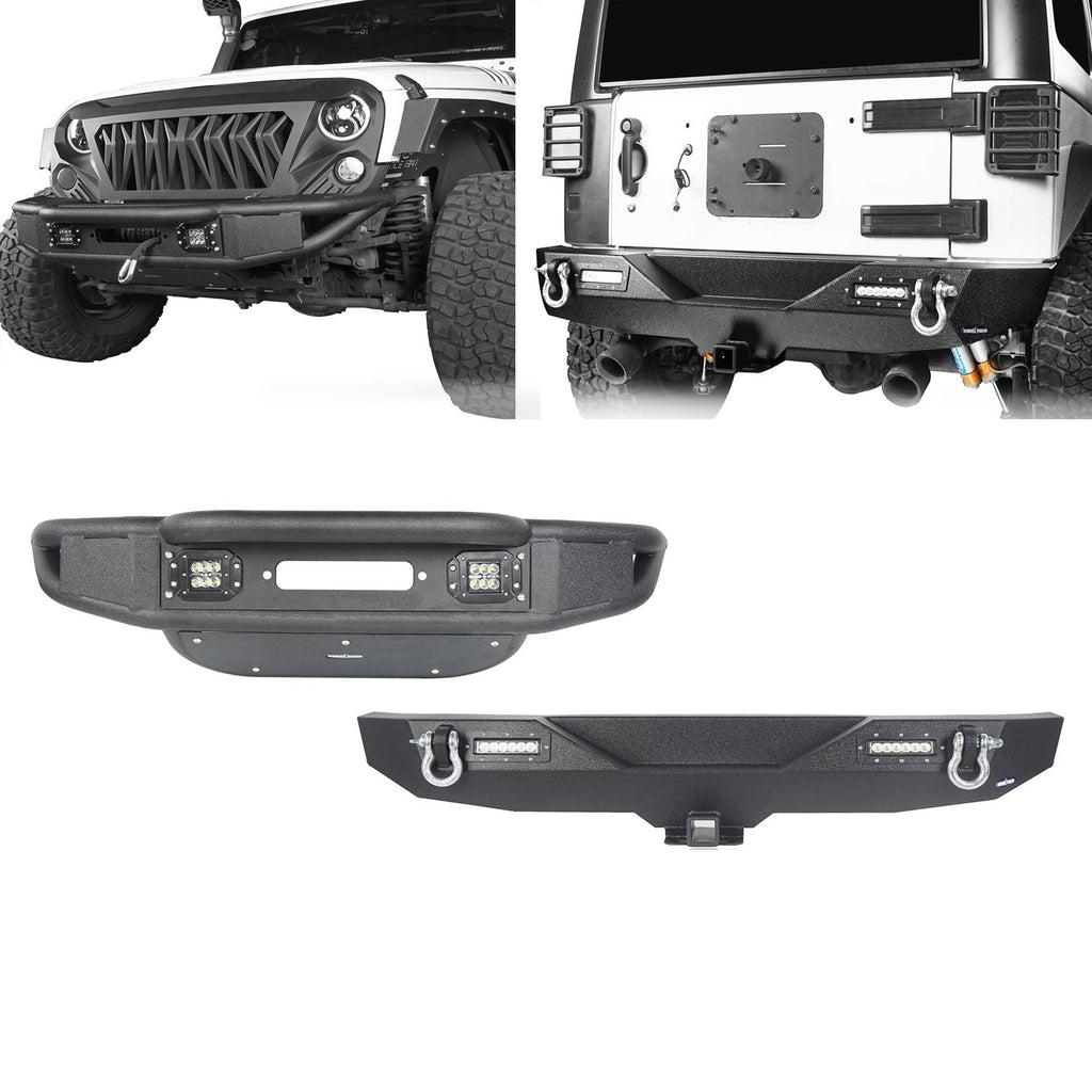 Opar Lotus Tubular Front Bumper & Different Trail Rear Bumper Combo Kit for 2007-2018 Jeep Wrangler JK JKU BXG132116 u-Box offroad 1