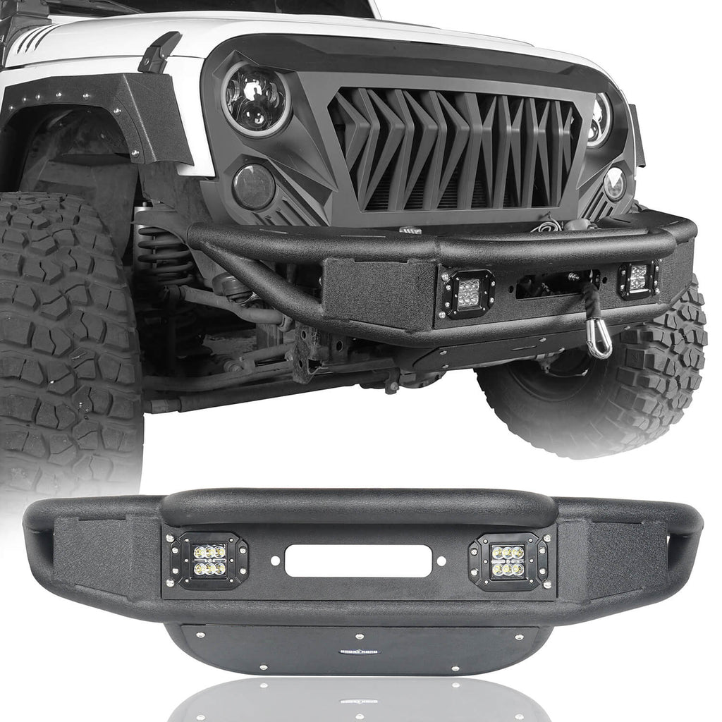 Opar Lotus Tubular Front Bumper & Different Trail Rear Bumper Combo Kit for 2007-2018 Jeep Wrangler JK JKU BXG132116 u-Box offroad 3
