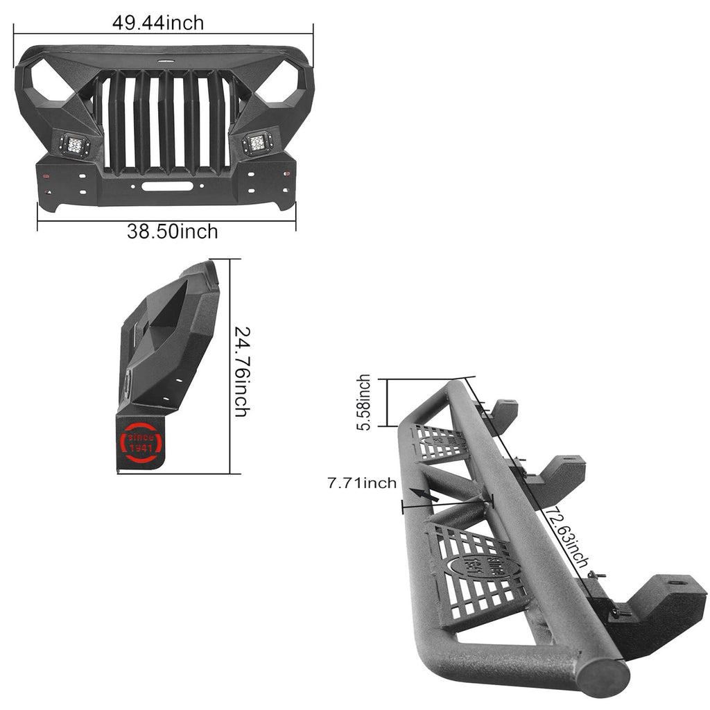 Full Width Front Bumper with Mad Max Grill & Side Steps(18-21 Jeep Wrangler JL 4 Door)