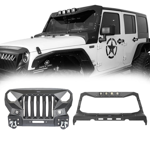 Mad Max Front Bumper w/Steel Grille Guard & Windshield Frame Cover(07-18 Jeep Wrangler JK)