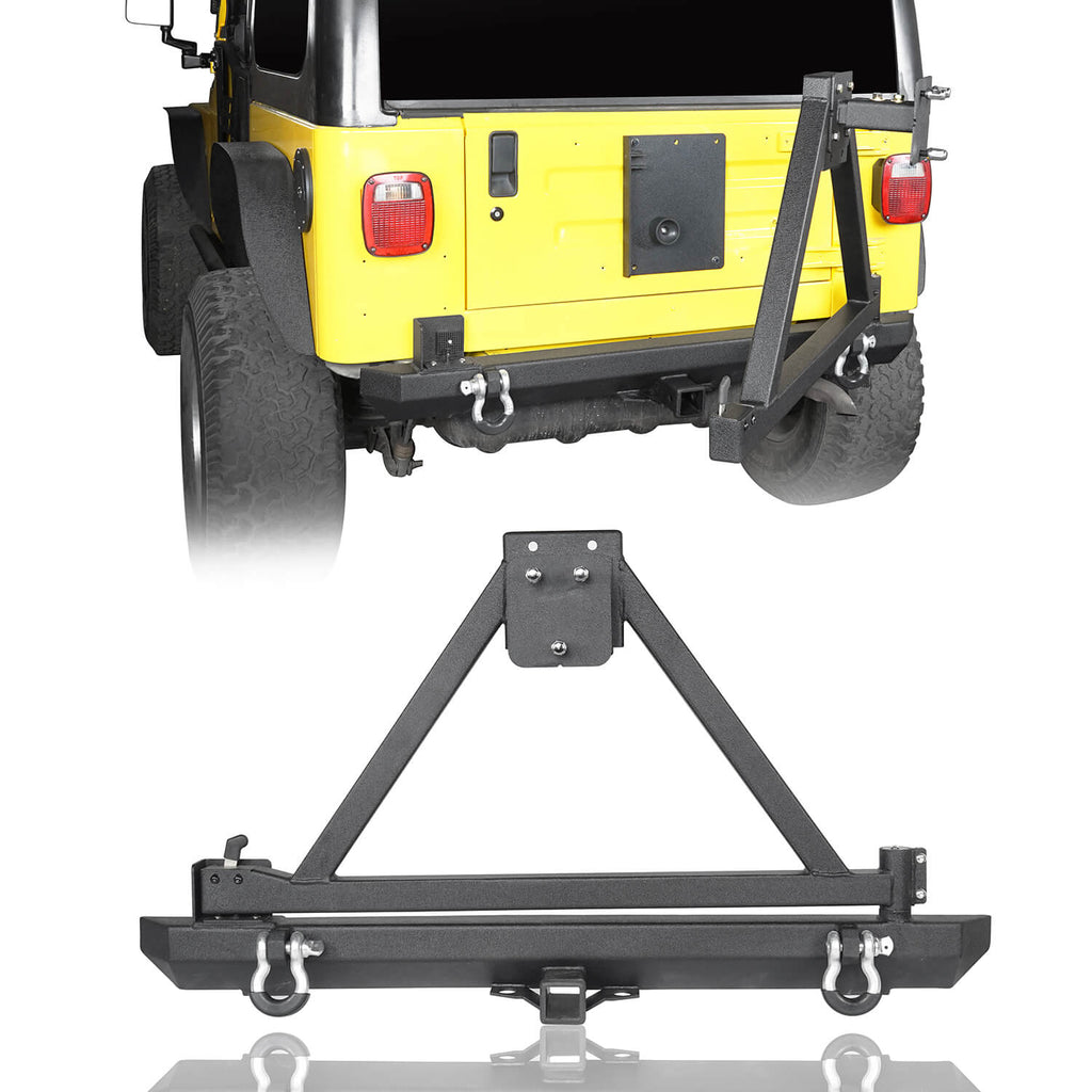 "Rear Bumper w/Tire Carrier & 2"" Receiver Hitches for 1997-2006 Jeep Wrangler TJ BXG281 1"