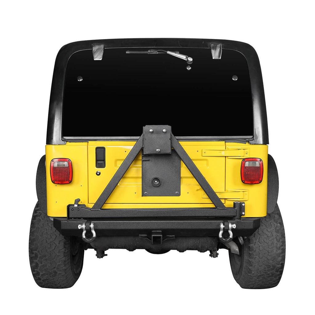 "Rear Bumper w/Tire Carrier & 2"" Receiver Hitches for 1997-2006 Jeep Wrangler TJ BXG281 3"