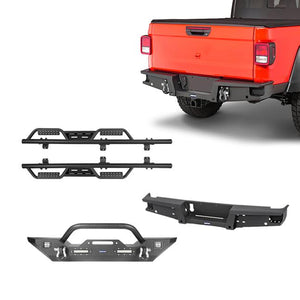 Mid Width Front Bumper, Rear Bumper, Side Steps Nerf Bars(20-21 Jeep Gladiator JT)